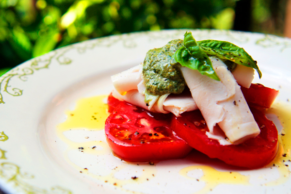 Tomato, turkey, basil, pesto