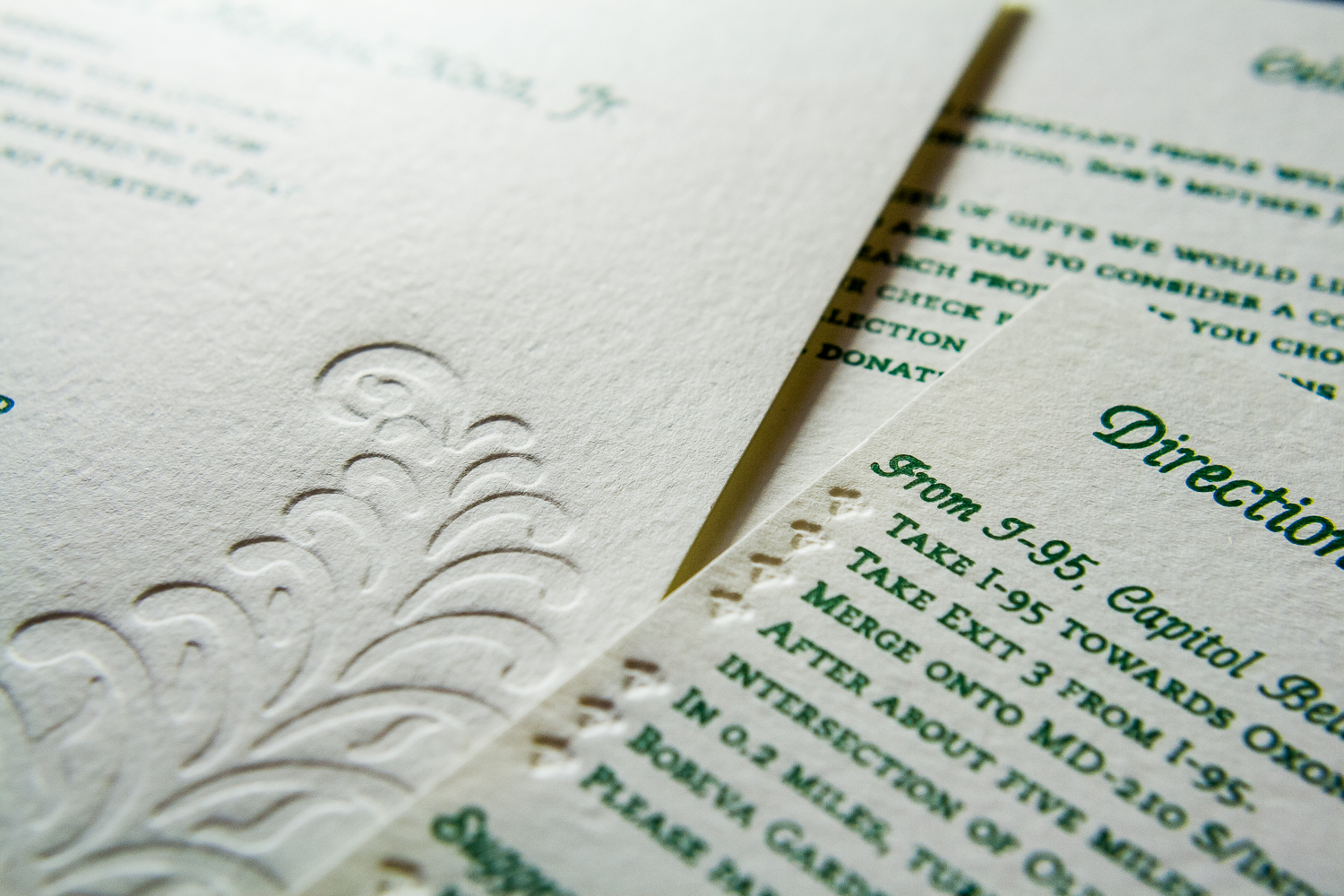 Letterpressed directions card by Lindsay Benson Garrett.