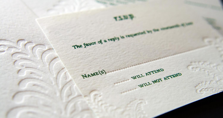 Letterpressed RSVP card