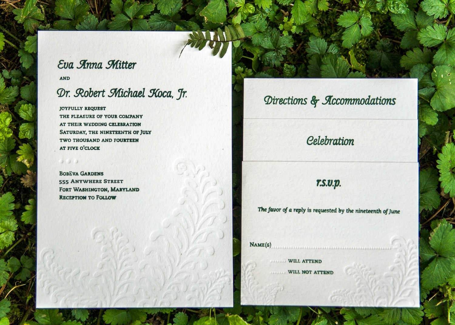 Letterpressed wedding invitations by Lindsay Benson Garrett