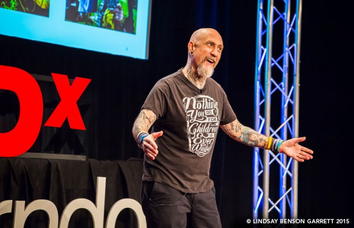 """Tattoo Tom"" at TEDx Herndon 2015, photo by Lindsay Benson Garrett"