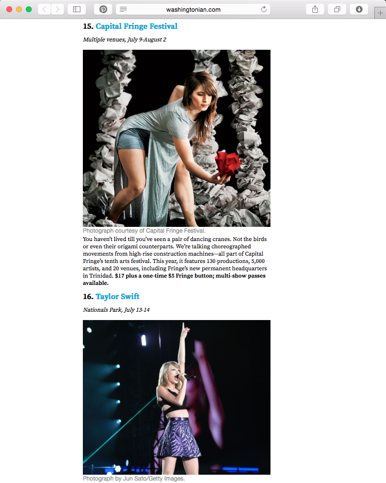 Washingtonian's pick for the summer, listed above Taylor Swift.