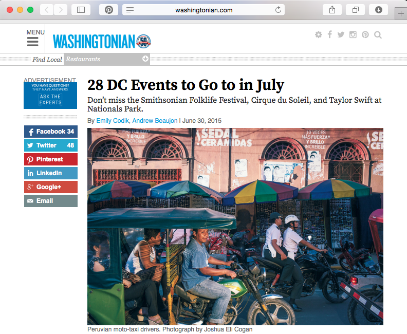 Washingtonian Magazine's top 28 things to do in the summer of 2015
