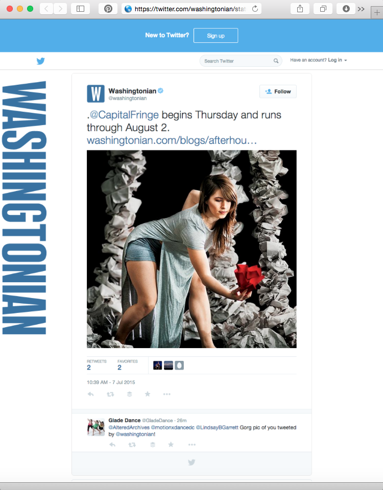 Washingtonian Magazine tweet about Capital Fringe